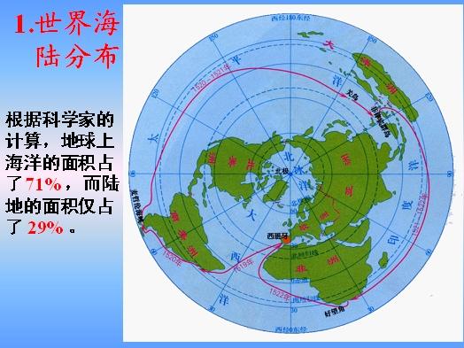 地球的运动第三节地图第二章陆地和海洋第一节大洲和大洋第二节海陆的