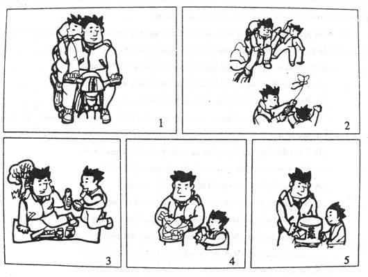 卡通野餐简笔画